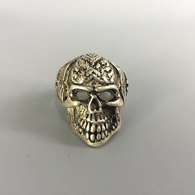 Chinese Collectible Rare Tibet Silver Handwork Skeleton Demon Old Antique Ring
