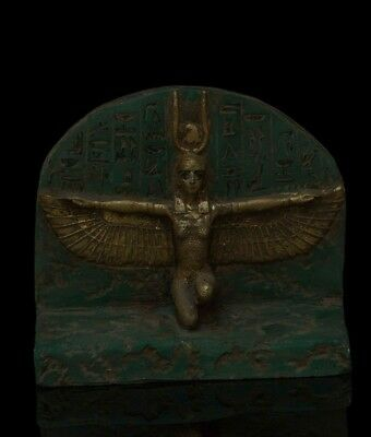 RARE EGYPTIAN ANTIQUE Winged ISIS GODDESS Carved Stone STELA 1200-1085 BC