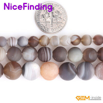 Natural Gemstone Round Frosted Matte Botswana Agate Beads For Jewelry Making 15""