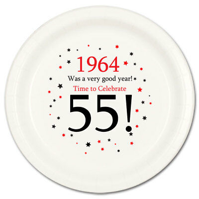 Happy 55th Birthday Age 55 1964 Party Supplies DESSERT CAKE PLATES