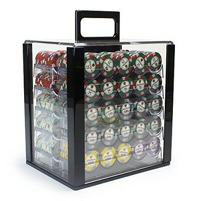 Brybelly 1,000 Ct Poker Set 13.5g Clay Composite Chips with Acrylic Display Case