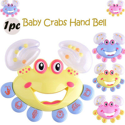 1pc Kids Baby Crab Design Shaking Toy Handbell Musical Instrument Jingle Rattle
