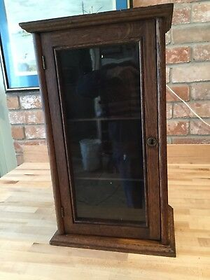 Small Vintage Oak Table Top Or Counter Top Display Glass Front