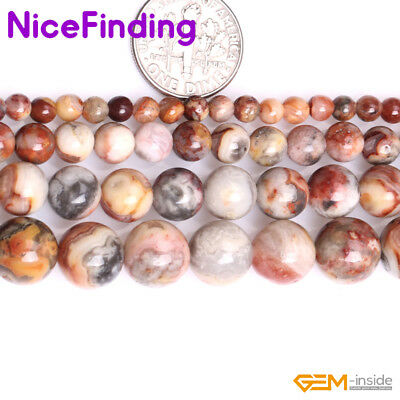 """Natural Round Yellow Crazy Lace Agate Stone Spacer Beads For Jewelry Making 15"""""""