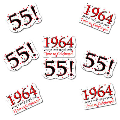 Happy 55th Birthday Age 55 1964 Party Supplies HIGH QUALITY STICKERS