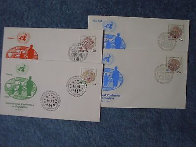 1984 Conference on Population FDC Set Singles - Artmaster Cachet