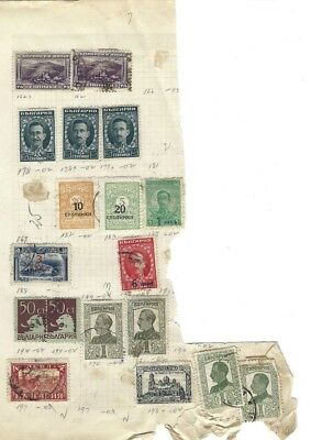 #3 page of Vintage Bulgarian Early 20th Century Postage Stamps -Lot of 18