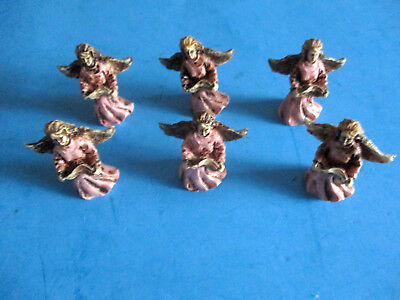 "6 Small Resin Angels Pink Dresses & Gold Wings 1-7/8"" High Crafts & Decoratives"