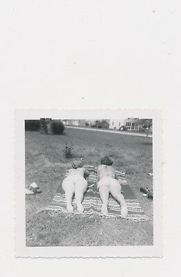 Vintage 1950  2 Women Lying Down Together One Blanket Candid Point of View Suits
