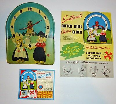 Tin Litho Windmill Dutch Girl & Boy Wall Clock Punch Card Prize and Unused Card