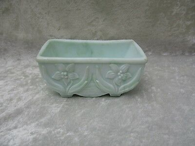 Vintage Akro Agate Green and White Glass Planter