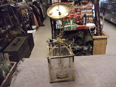 Brass  Hallway Hanging Lantern with Chain & Cap, works great, see pictures
