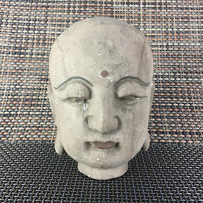 Rare Chinese Old Collectible Wood Handwork Carved Buddha Head Antique Big Statue