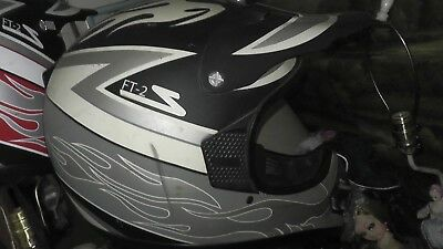 motorcycle motocross helmet dirtbike ft-2 s zamp black white gray used
