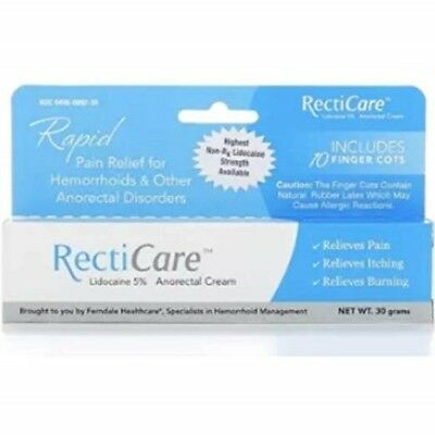 Rapid RectiCare Anorectal Cream Lidocaine 5% 30g with Finger Cots