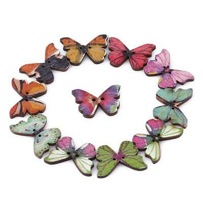 50x Butterfly Wood Buttons 2 Holes Mixed Color Scrapbooking DIY Sewing Crafts C