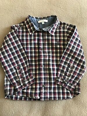 Jacadi Paris Age 18 Months Boys Charcoal Red & White Checked Shirt