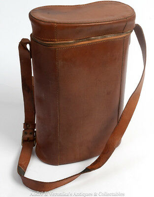 Vintage Brown Leather Shoulder Bag LARGE Binoculars / Artist's Brushes / Thermos