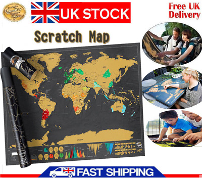 Nomal Scratch Off World Map Deluxe Edition Travel Log Journal Poster Wall Decor`