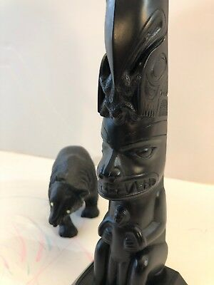 Vintage BEAR EAGLE Totem Pole & GRIZZLY BEAR FIGURE. Native American-Canada