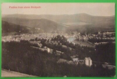 J.A.ANDERSON Postcard POSTED 1907 PEEBLES FROM ABOVE NEIDPATH BERWICKSHIRE