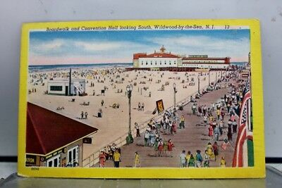 New Jersey NJ Wildwood By the Sea Boardwalk Convention Hall Postcard Old Vintage
