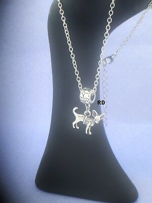 Chihuahua Dog Breed Necklace with Pawprint Slider   silver plated