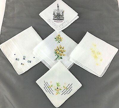 Vintage Lot of 5 Pretty Handkerchiefs, Flowers, Innsbruck, Some Hand Embroidered
