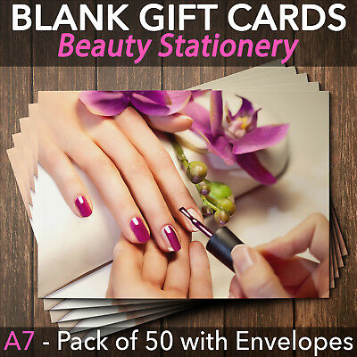 Gift Voucher Card Beauty Nail Salons Bar Manicure Technician x50 + Envelope M3
