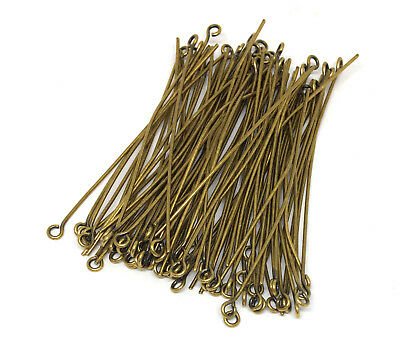 500 Antiqued Brass Plated Steel Eyepins 1 3//16 Inches Long Eye Pin