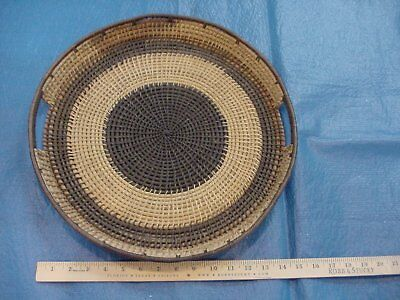 Vintage Hand made Zulu round tray with handles, 16 inches in diameter