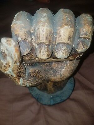 Rare Vintage Clenched Fist Carved Solid Wood sculpture Made in Spain Tramp Art