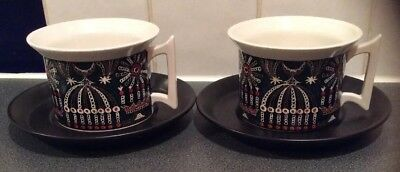 Pair Tea Cups And Saucers Magic City Pattern By Susan Williams-Ellis