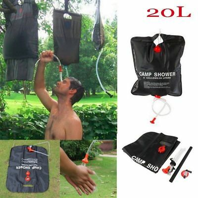Portable 20L Solar Camping Shower Outdoor Hiking Heated Bathing Water Bag C2J0X