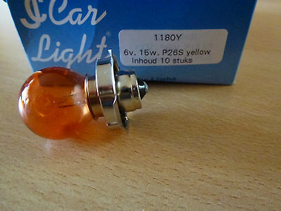 Glühbirne Lampe Birne 6V 15W P26S in Orange von Car Light 1180Y Neu