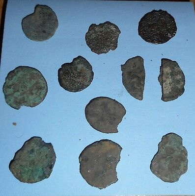Group of Ancient Roman Coins & Fragments but very poor condition.