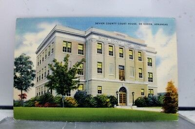 Arkansas AR De Queen Sevier County Court House Postcard Old Vintage Card View PC