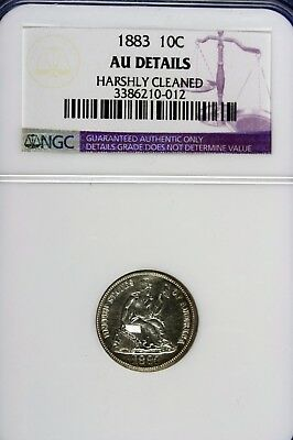 1883 - Ngc Au Details,harshly Cleaned Seated Liberty Dime!!! #b14464