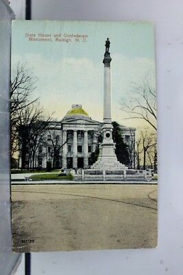North Carolina NC Raleigh State House Confederate Monument Postcard Old Vintage