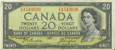 Bank of Canada 1954 $20 Twenty Dollars Devil's Face Beattie- Coyne E/E Fine