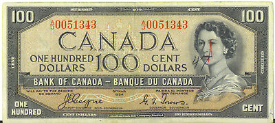Bank of Canada 1954 $100 Hundred Dollars Devil's Face Coyne-Towers Fine+