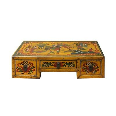 Chinese Yellow Lacquer Graphic Table Top Stand Display Easel cs4679