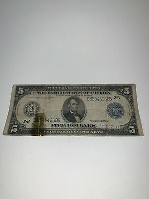 Series Of 1914 Large Size $5 Five Dollar Bill Federal Reserve Note Blue Seal
