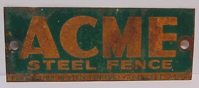 Old Vintage 1940s USA ACME STEEL FENCE SUNSET FLORIDA TIN METAL ADVERTISING SIGN