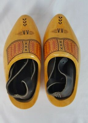 Pair of Decorated Made in Holland Wooden Shoes Child Size 27 17.5 cm