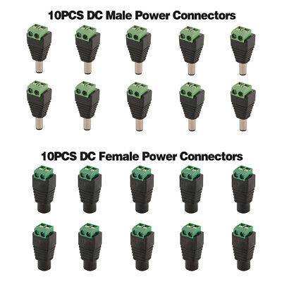 20PCS DC Power Connectors Male Femal 5.5x2.1mm Jack Adapter For LED Strip TE1051