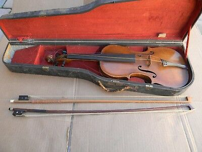 Signed Antique Violin With Louis Germany Bow In Wooden Case (For Restoration)