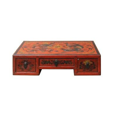 Chinese Red Lacquer Graphic Table Top Stand Display Easel cs4680
