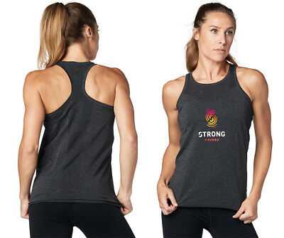 STRONG By Zumba Music Is My Fuel Instructor Tight Tank Blue Babe Z1T01507