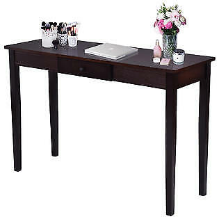 Goplus Console Table Entry Hallway Entryway Side Sofa Accent Table Drawer Wood N